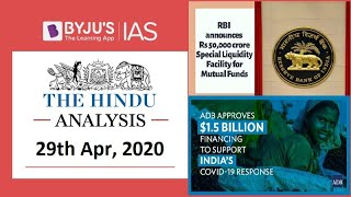 'The Hindu' Analysis for 29th April, 2020. (Current Affairs for UPSC/IAS)