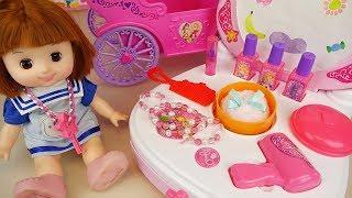 Baby doll beauty bag and magic car toys baby Doli play