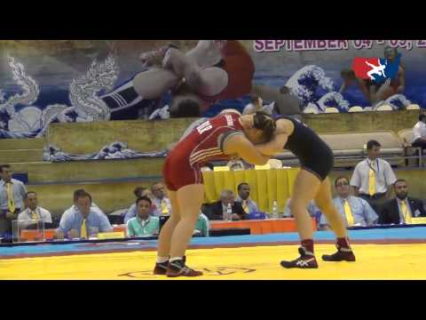 2012 Junior Worlds - FW 72kg - Julia Salata (USA) vs. Halina Leuchanka (BLR)