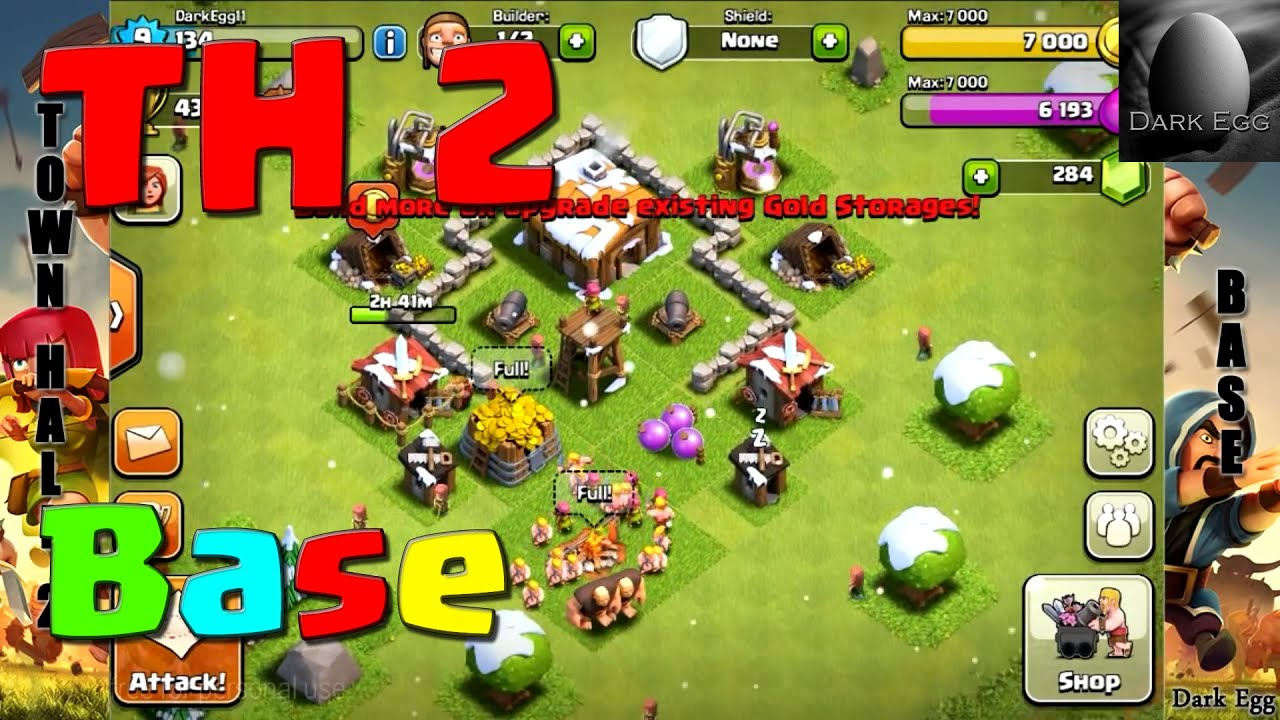 Clash of clans town hall 2 base youtube