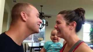 Baby LAUGHS when mom and dad kiss!