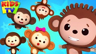 Five little Monkeys | Little Eddie Cartoon | Nursery Rhymes for Babies - Kids TV