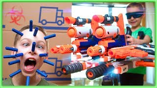 NERF CHEATER Sneak Attack! My sneaky brother stole my GIANT NERF gun!