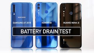 Samsung A7 2018 / Honor 8X / Nova 3i BATTERY DRAIN Test | Zeibiz