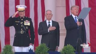 Donald Trump sings Star Spangled banner during Memorial Day ceremony