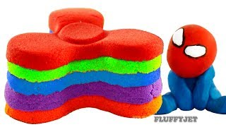 DIY Kinetic Sand Rainbow Cake Spiderman Paw Patrol Chase Fidget Spinner Stop motion Play doh
