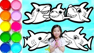 Pinkfong Baby Shark Family Drawing and Coloring Learn to Color   Pinkfong Song   Magic Toy Art