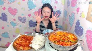 짬뽕어묵면 배추김치에 밥 먹방 Mukbang eating show 170621