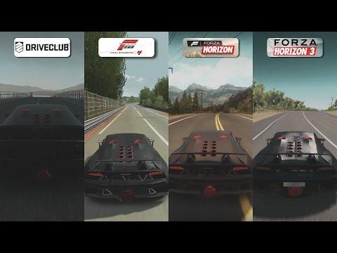 DriveClub vs Forza 4 vs FH vs FH3 - Lamborghini Sesto Elemento Sound Comparison