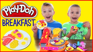 Play Doh Breakfast Cafe Playset with Pretend Waffle Maker, Bacon and Eggs