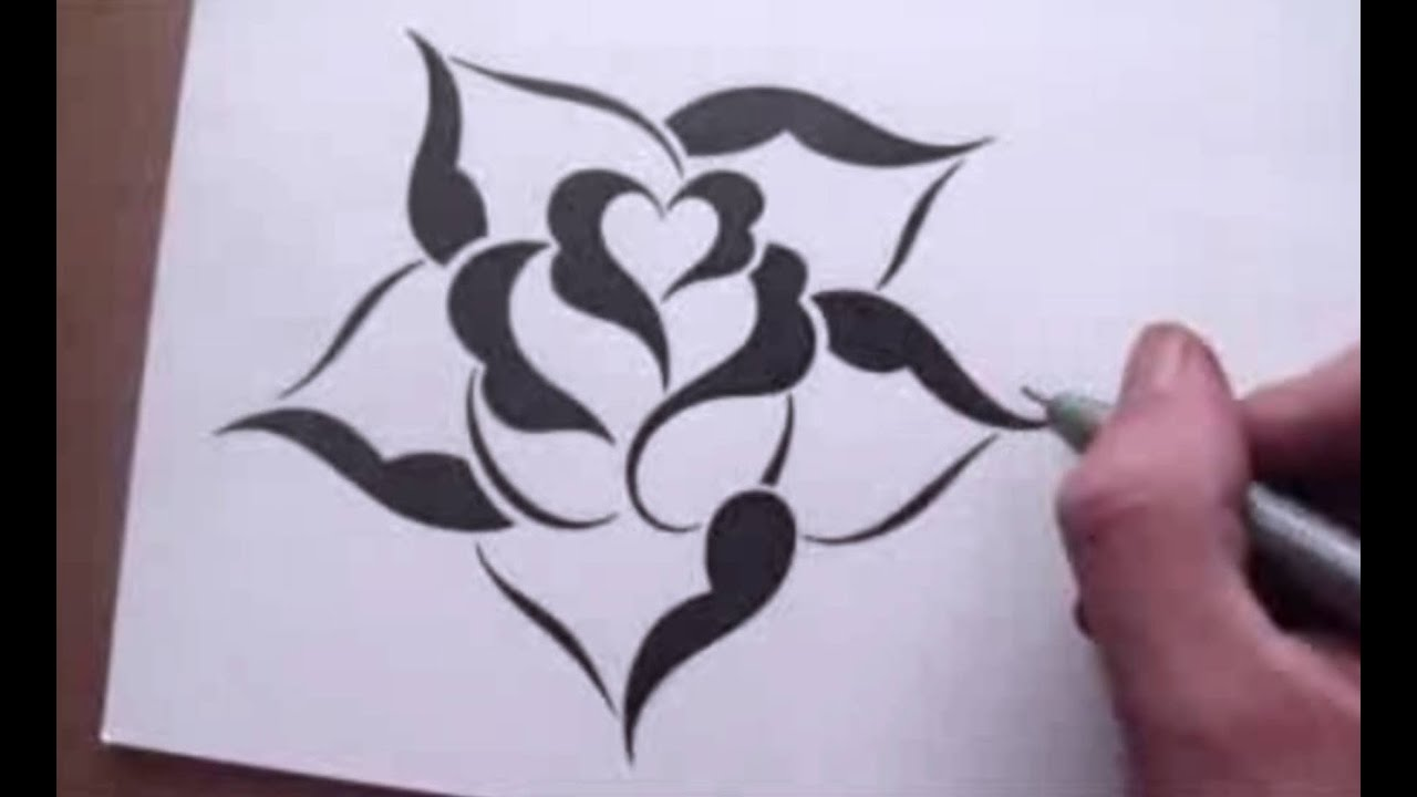 Drawing a rose in a simple stencil design style youtube for Cool rose drawings