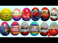 12 Kinder Surprise  and Surprise Eggs SpongeBob HELLO KITTY Cars Disney Princess SPIDER MAN!