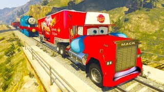 Disney Cars 3 Mack Truck Hauler in trouble with Thomas Train