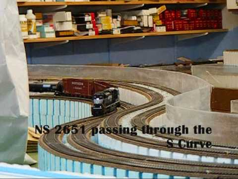 CHECK IT OUT! PT.1  MTH SD70M-2 Norfolk Southern #2651 ACTION on HUGE HO SCALE LAYOUT!!!