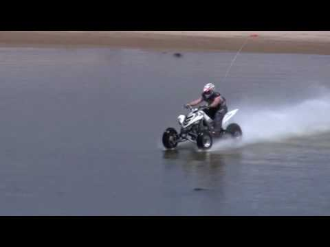 Hydroplaning ATV. May 30, 2010. Yamaha Raptor 700 Quad water skipping/ hydroplaning over a lake that is approximately 5-7 feet deep in the Oregon Dunes at Ha...