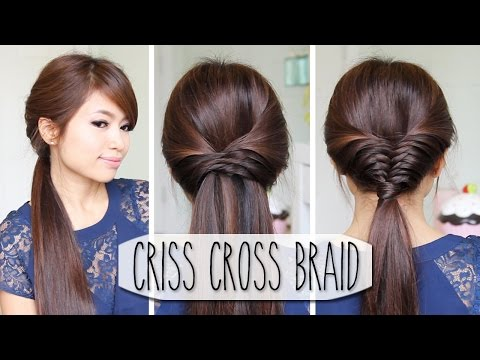 Criss Cross Braid Hair Tutorial (French Fishtail Cheat)