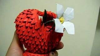 3d Origami Small Red Heart Shaped Basket &amp; White Narcissus Flower Valentine Gift