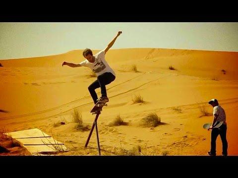 Skate session on sand dunes in the Moroccan Desert
