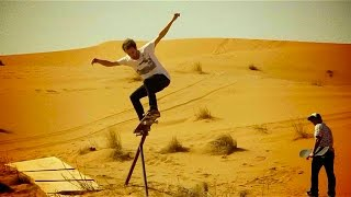 Skate session on sand dunes in Moroccan Desert