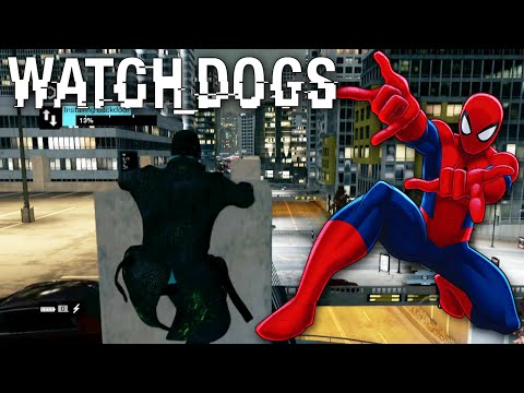 Watch Dogs - SPIDERMAN Hack #4 - Epic Live Hack From On Top Of Car Park! (Trolling)
