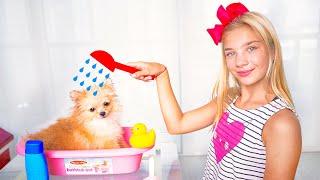 Maggie bathes the soiled puppy Shanti