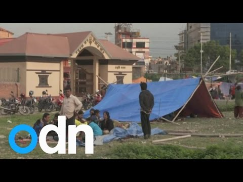 People sleep in the streets after Nepal earthquake