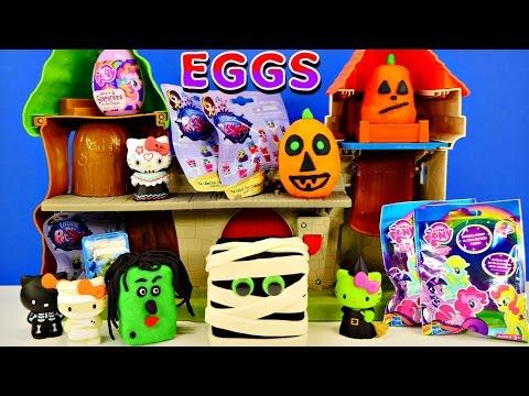 Play Doh Surprise Eggs Halloween Shopkins Littlest Pet Shop My Little Pony Zelfs Hello Kitty Minis video