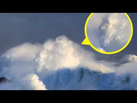 Old man and the sea: Moment face appears in 50ft wave as weather bomb batters UK