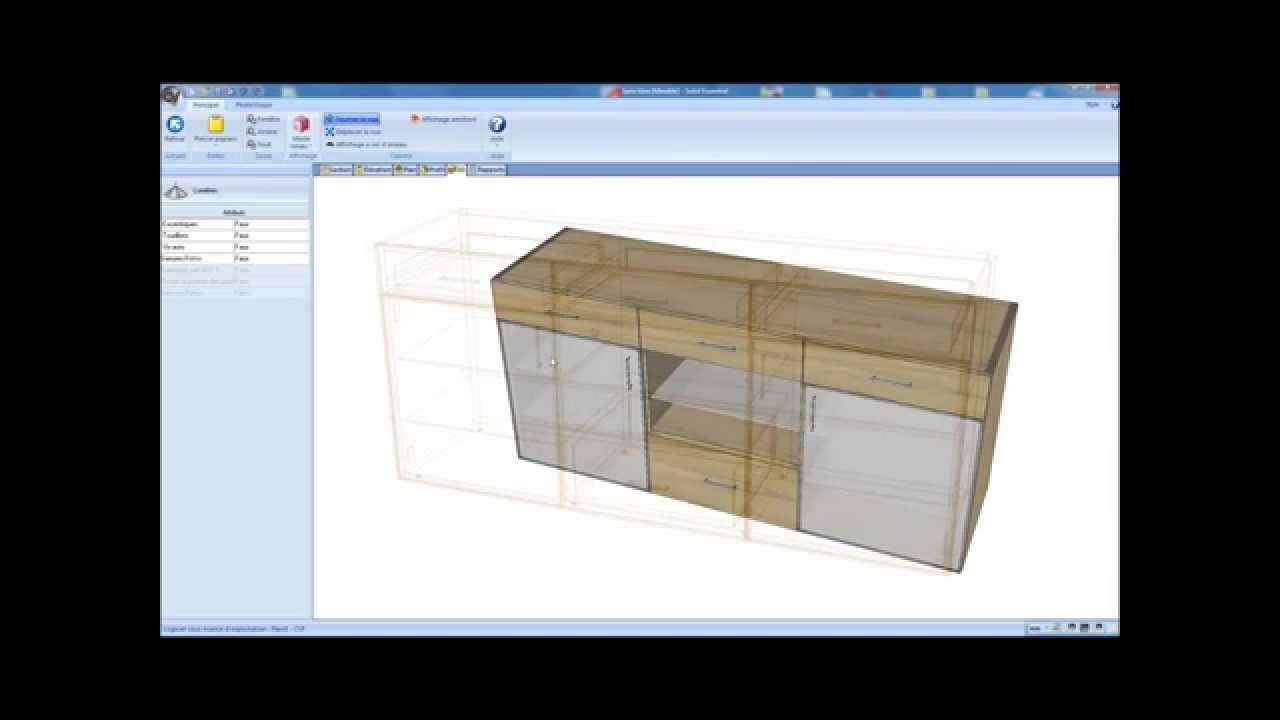 R alisation d 39 un meuble bas porte vitr e avec cabinet for Logiciel conception meuble