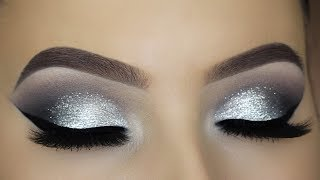 Classic Silver Glitter Eye Makeup Tutorial