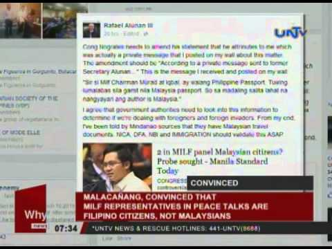 Malacañang, convinced that MILF representatives in peace talks are Filipino citizens, not Malaysians