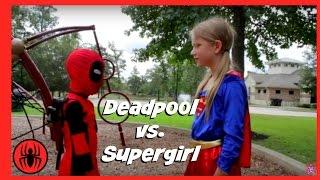 Little Heroes Kid Deadpool Vs Supergirl Real Life Superhero Battle   Nerf Fight Super Hero Kids