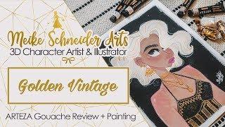 ARTEZA Gouache Paints & Paper Review + live Gouache Painting (Golden Vintage Girl)
