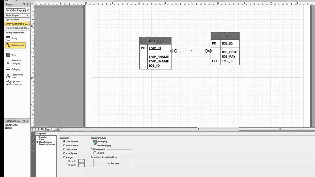 how to draw many relationship in visio 2010