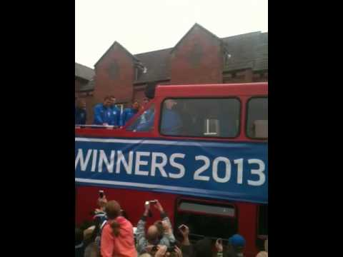 Wigan athletic player throws bottle of lucozade at me :( LOL - FA cup parade