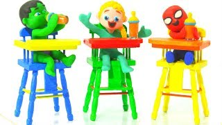 KIDS HAVING HEALTHY LUNCH ❤ SUPERHERO PLAY DOH CARTOONS FOR KIDS