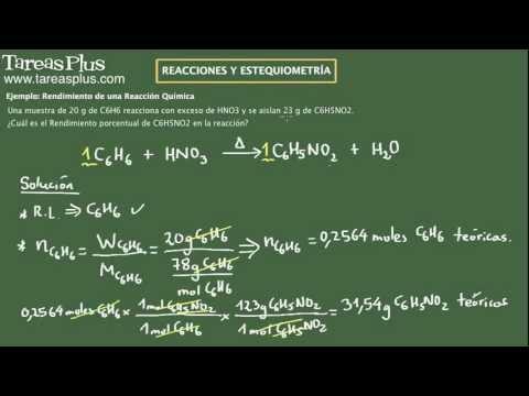 Reacciones Químicas. Rendimiento. Ejemplo 2