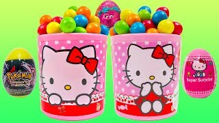 LEARN COLORS with Hello Kitty Gumballs Cup Toy Surprises Pokémon Trolls