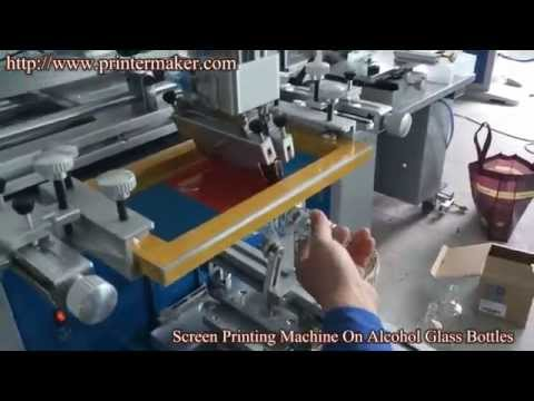 Alcohol Glass Bottle Screen Printing Machine.China Screen Printer