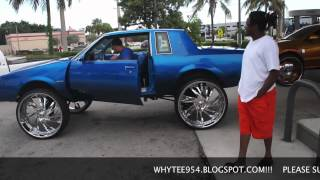 "CANDY BLUE BUICK REGAL!!!! RUNNIN!!! SPINNING DEM 30"" ASANTI"