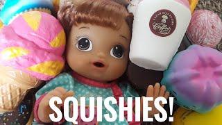 Baby Alive Minnie Shows our Squishy Collection! Jumbo, Mini, Homemade Paper Squishies!
