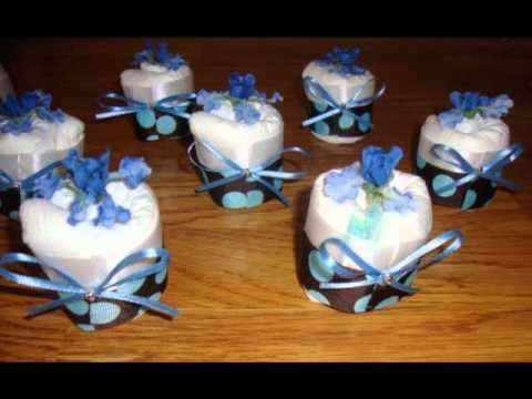 Diaper cupcakes are perfect for decorations during the baby shower, ...