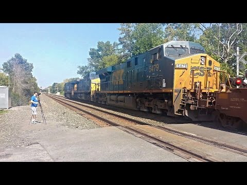 09/06/15 At Voorheesville, a huge CSX double stack train passes the crossing where the old D&H main intersects at 11:55 am. Led by a decent lash up of GE ES44AC 837, AC44CW 237, & ES40DC 5479...