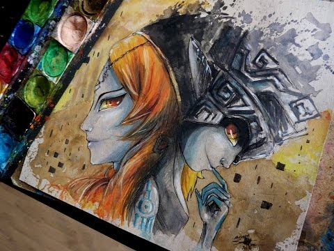 TWILIGHT PRINCESS - MIDNA: Watercolor Time Lapse Painting - The Legend of Zelda
