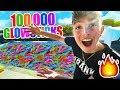 FILLING MY POOL WITH 100,000 GLOW STICKS!! **LIT**