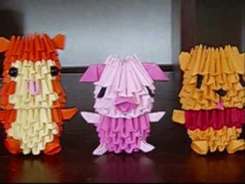 3D origami mini winnie the pooh, piglet, tigger, eeyore