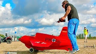 STUNNING HUGE XXXL RC ME-163 KOMET SCALE MODEL TURBINE JET FLIGHT DEMONSTRATION