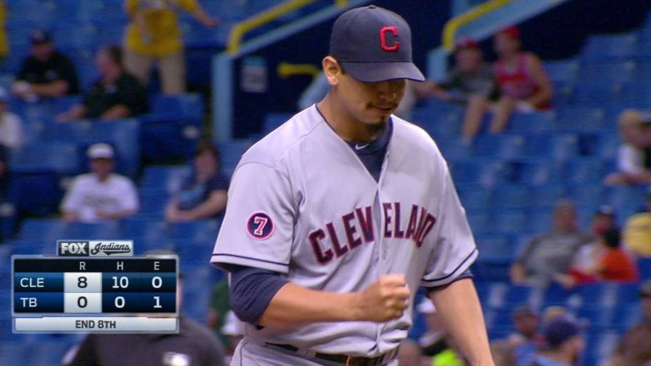 CLE@TB: Carrasco strikes out Souza to keep no-hitter