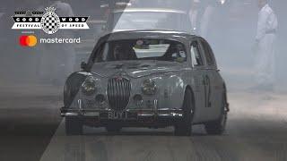 Classic Jaguar Mk1 drifts Goodwood hill