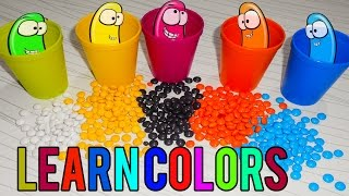 DIY Learn colors with M&Ms   Colour Slime with Play Foam   colorfull Ice Layers